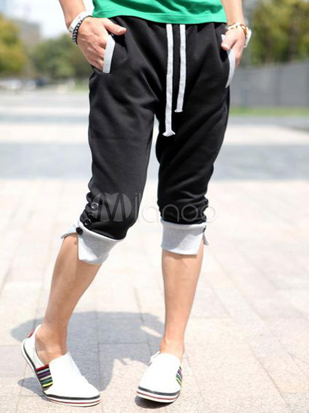 3f48cea191 Pantalones cortos de algodón negro moda para hombres - Milanoo.com