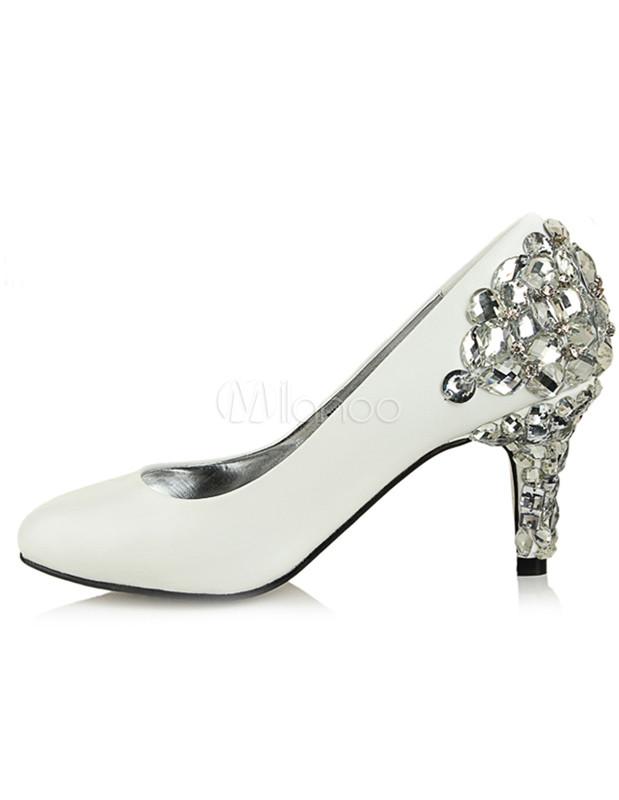 Scarpe Sposa The Woman In White.White Studded Sheepskin Bridal Shoes Milanoo Com