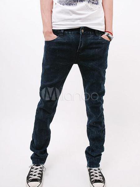 a8dfc5813a Jeans rectos del dril de algodón azul marino oscuro para los hombres -No.1  ...