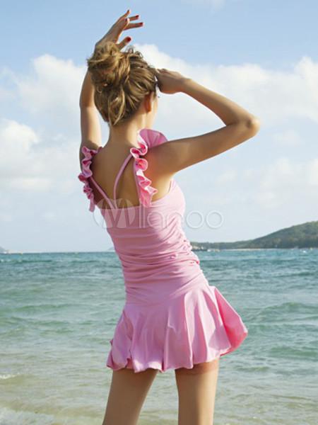 Costume da bagno carino monocolore con bretelle che non cade con pieghettature in lycra spandex - Donne che vanno in bagno a cagare ...