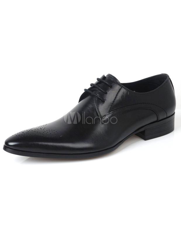 Chaussures modernes homme à lacets et bout pointu en peau de veau marron de tenue belle