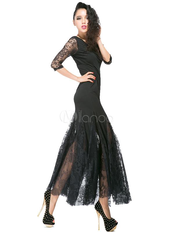 Vestito lungo nero trasparente di pizzo - Milanoo.com 4fdad31bcba