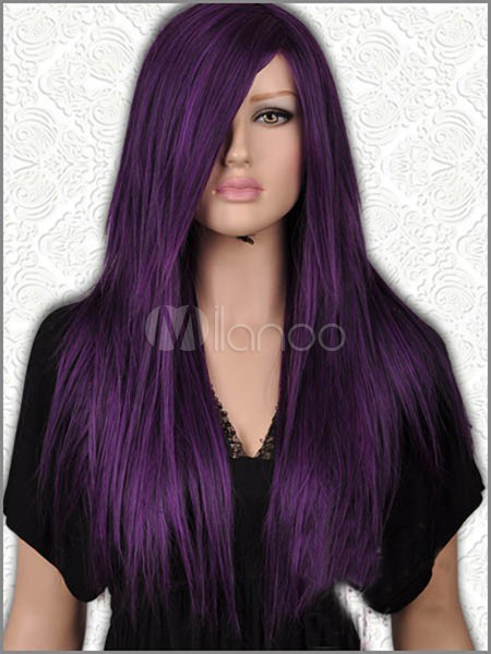 Long Straight Dark Purple Black Mix Wig Milanoo Com