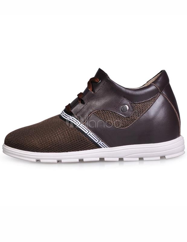 Zapatos del elevador de redes formales de marrón cuero hombre AzDVUtA