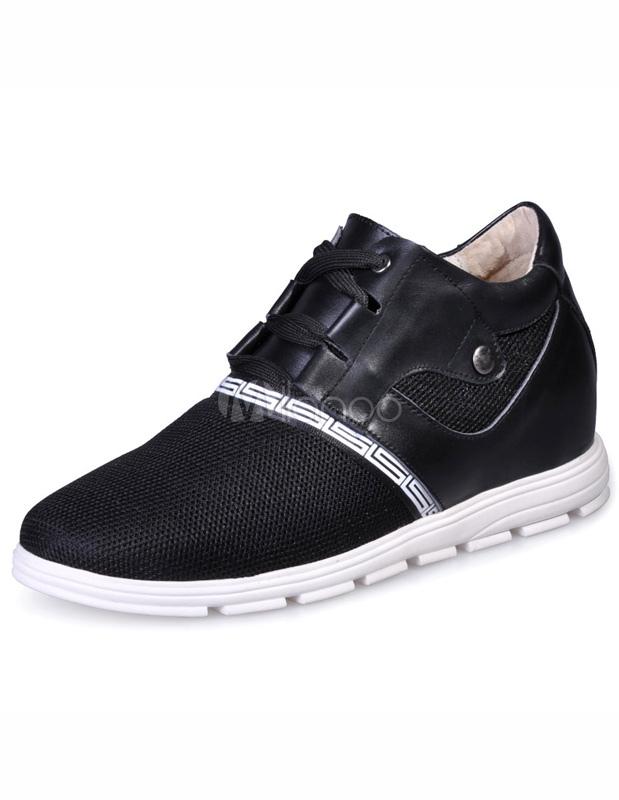 Chaussures pratiques ascenseur de rehaussement à lacets en peau de vache  noir avec filets-No ...