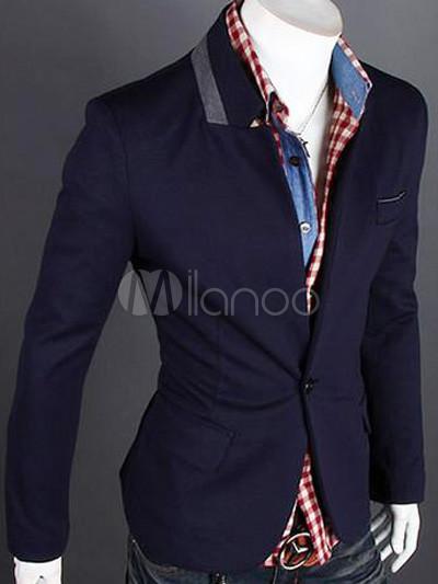 blazer homme en coton bleu marine fonc avec bouton devant. Black Bedroom Furniture Sets. Home Design Ideas