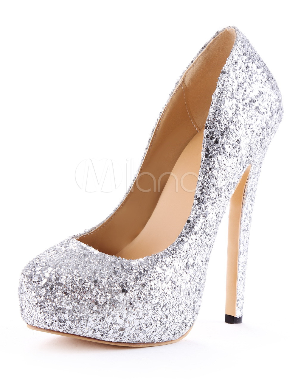 Silver Spike Heel Glitter Faux Leather High Heels For Woman