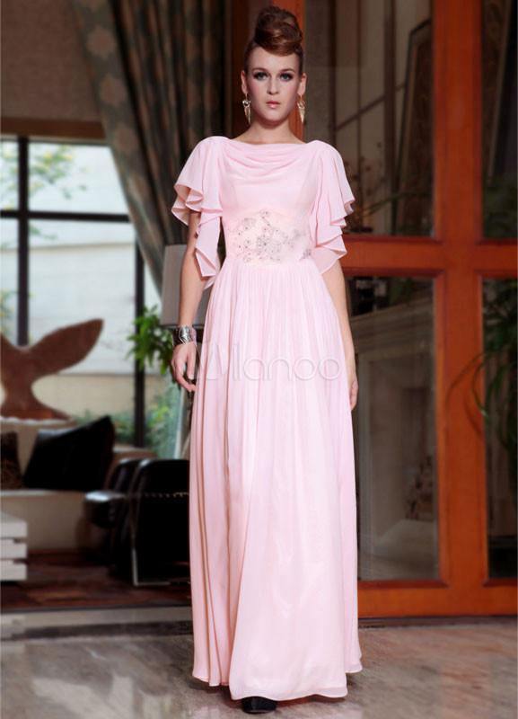 Garanzia di soddisfazione al 100% un'altra possibilità vasta selezione Vestito da cerimonia rosa ricamato con schiena scoperta con maniche corte  con girocollo a terra
