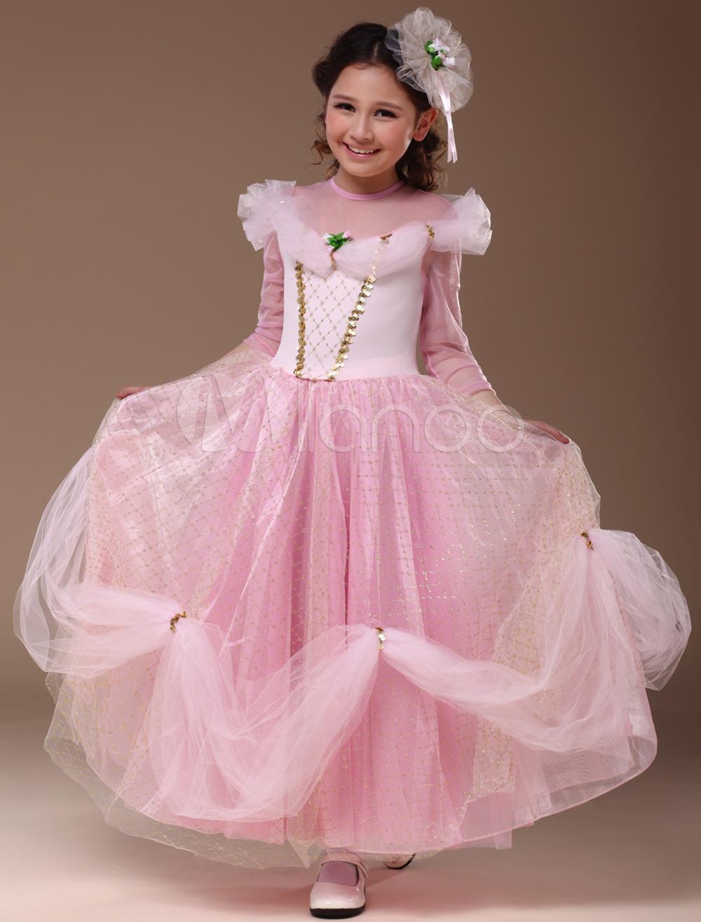 Sweet Pink Polyester Princess Kids Costume Halloween