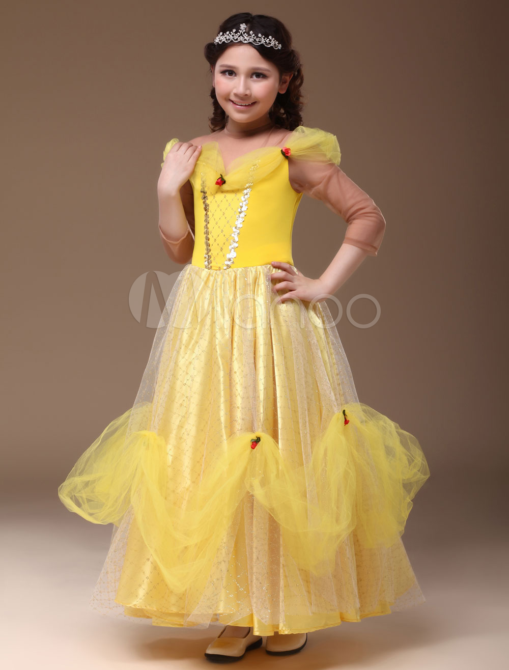 Buy Royal Yellow Polyester Princess Kids Costume Halloween for $66.99 in Milanoo store