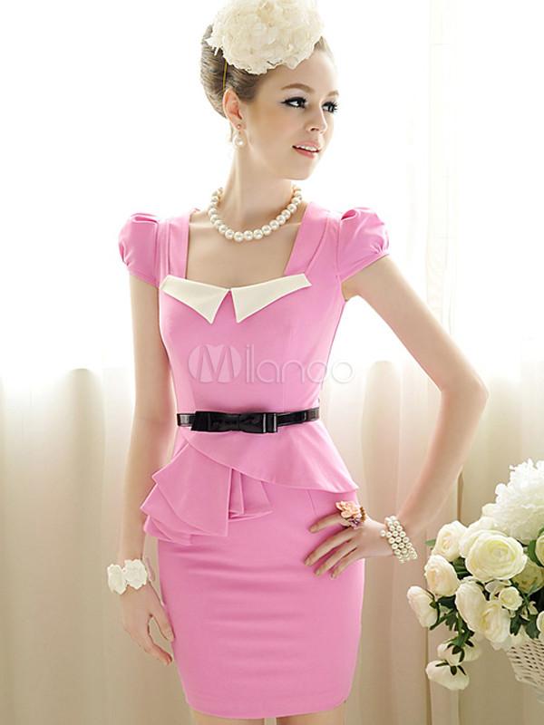 Bodycon vestido dulce Rosa Peplum Plaza cuello Femenil - Milanoo.com