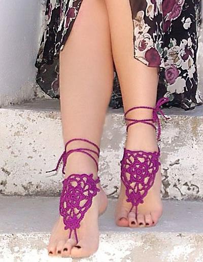 Chinesische Eleganz Häkeln Barfuss Sandalen Für Damen Milanoocom