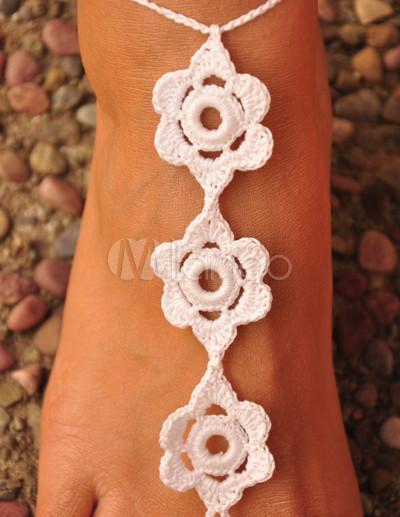 Elegante Blumen Häkeln Barfuß Damen Sandalen Milanoocom