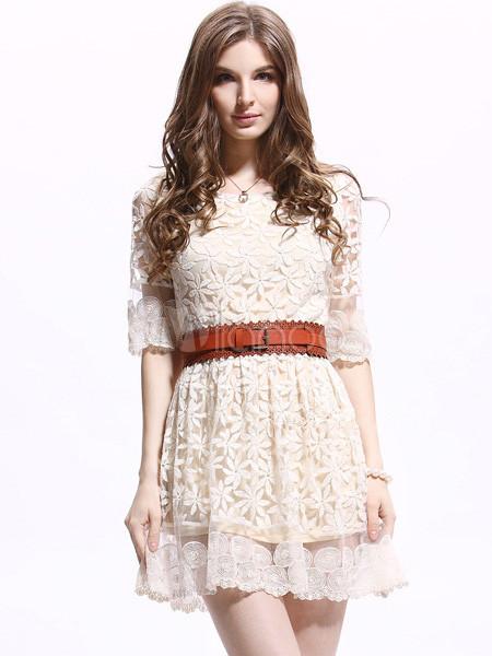 0f6b872296 Vestido corto de encaje de blanco crudo con bordado - Milanoo.com