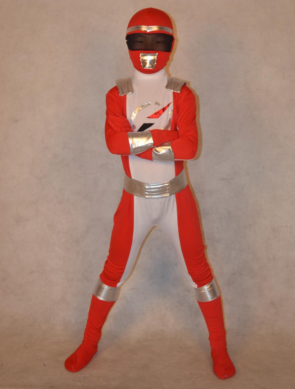 Halloween Power Ranger Zentai Suit for Kid Superhero Lycra Spandex Costume Halloween