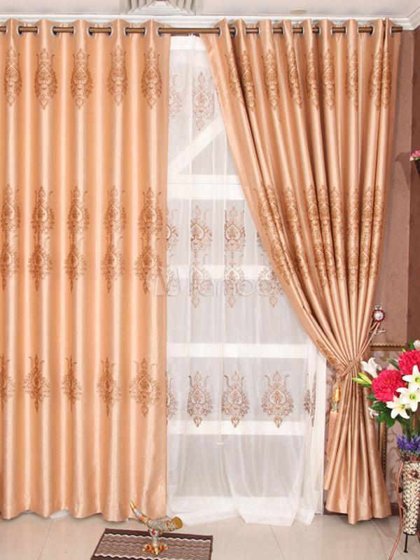 fashion deep apricot color jacquard polyester chic blackout curtains. Black Bedroom Furniture Sets. Home Design Ideas