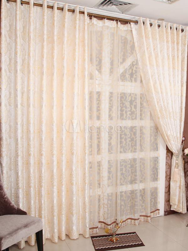cortinas opacas chic polister jacquard beige no4 - Cortinas Beige