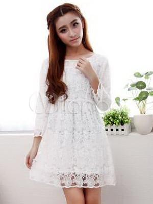 Vestido blanco encaje manga larga