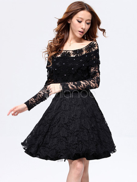 Vestidos de encaje negro manga larga