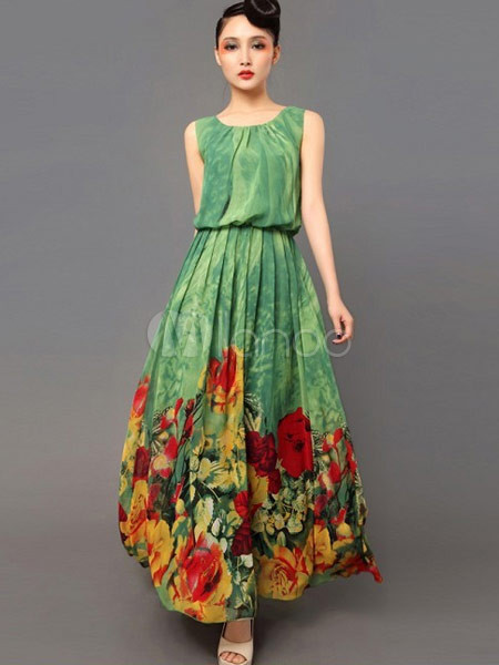 Verde Stampato Chiffon Lungo Vestito Floreale In Owx5ET7q