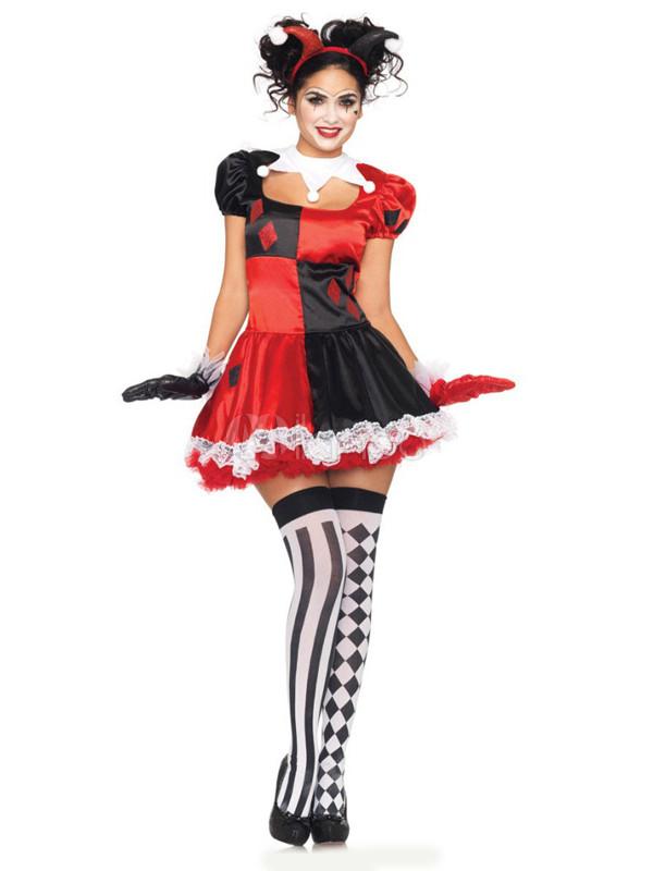 Süßes Damen Fantasy Kostüm Mit Spitze In Rot Und Schwarz Milanoocom