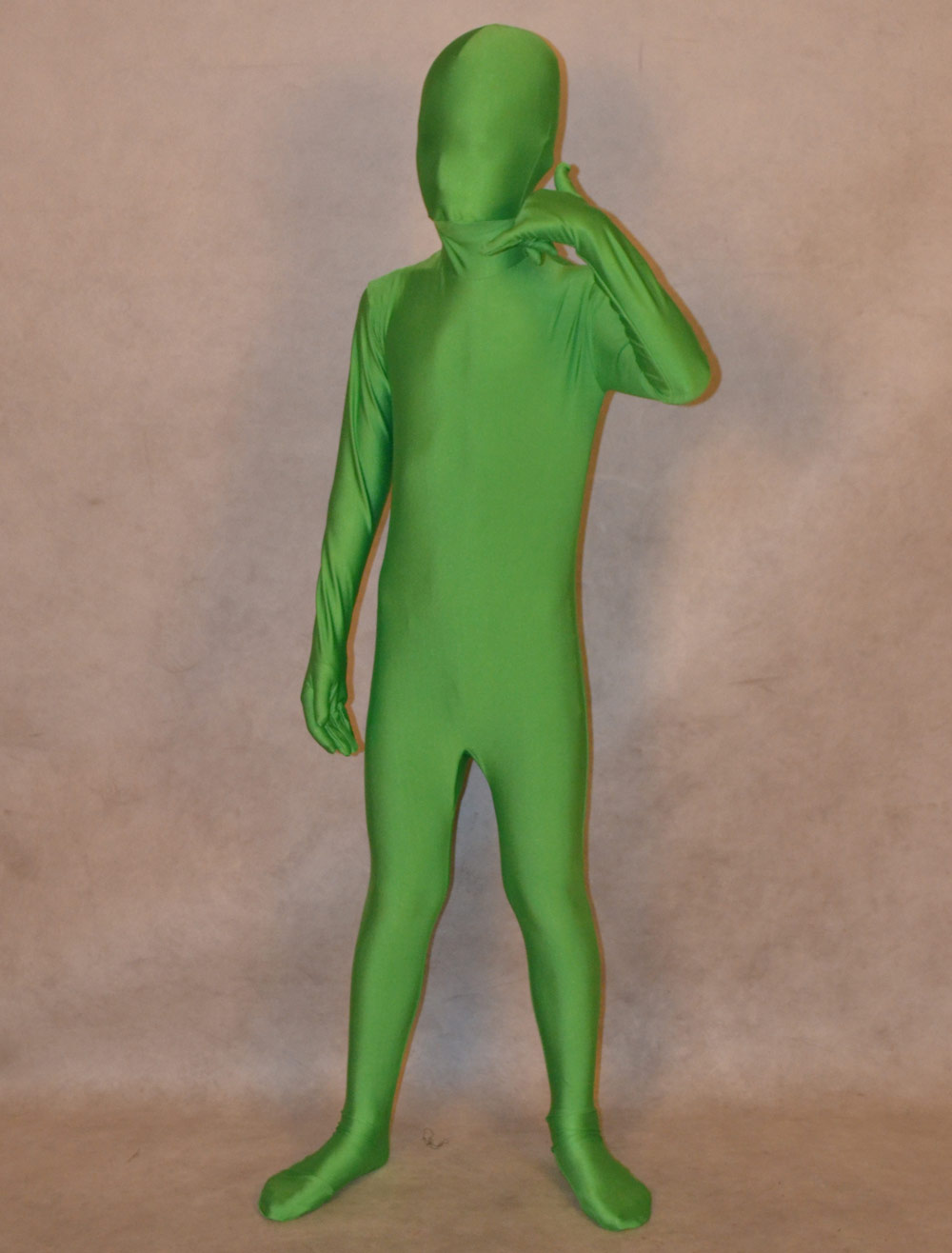 Buy Halloween Green Unisex Lycra Spandex Fashion Unicolor Zentai Suits For Kids Halloween for $24.99 in Milanoo store