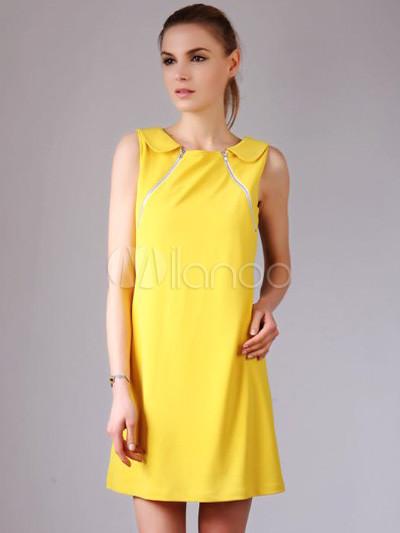 En commun Belle robe droite jaune douce unicolore avec zip et col ras du cou &BB_36