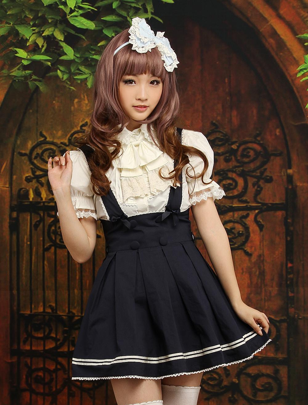 Navy Blue Cotton Lolita Skirt Salopette Beige Stripe