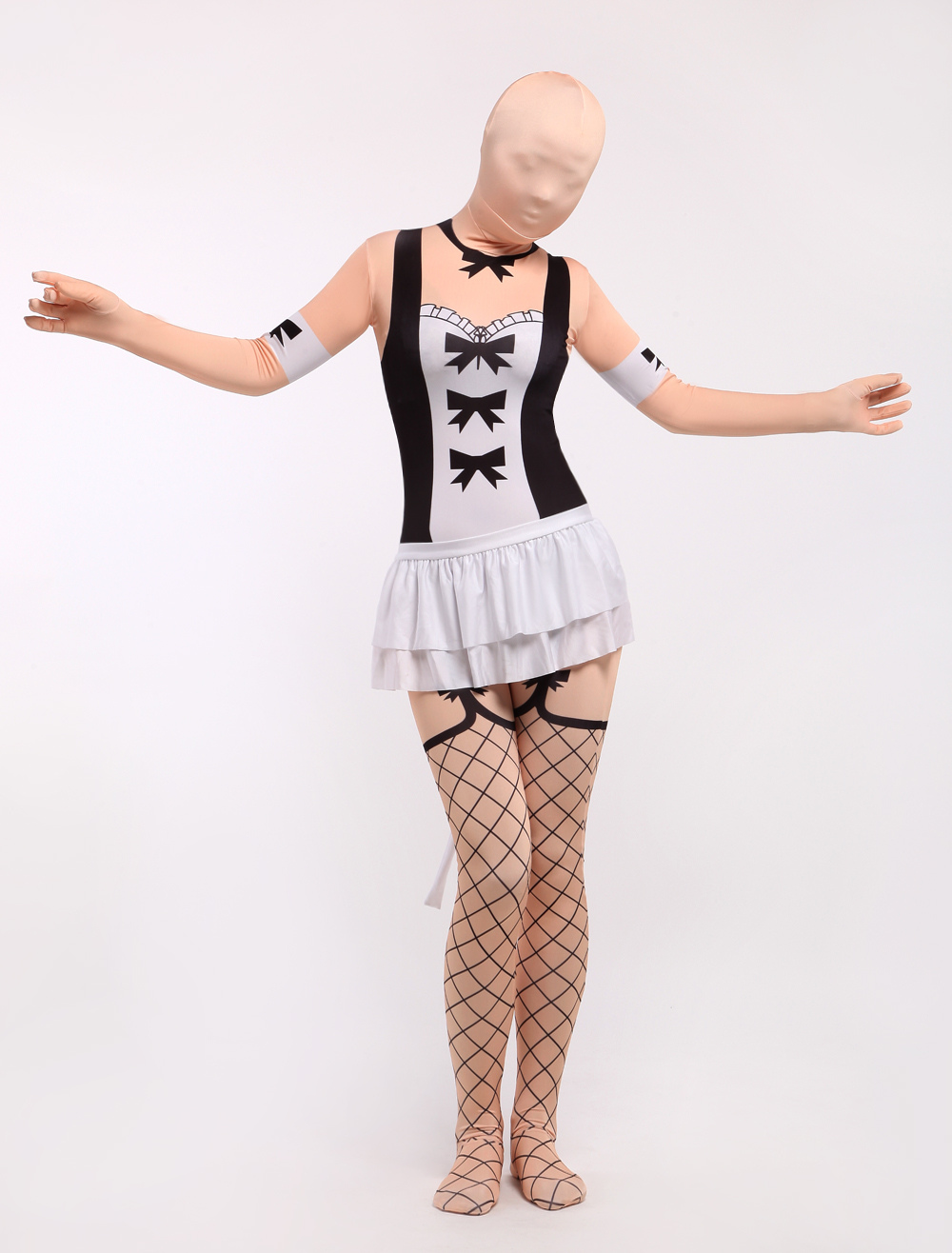 Sexy Maid Zentai Suit Halloween Lycra Spandex Full Bodsuit Halloween