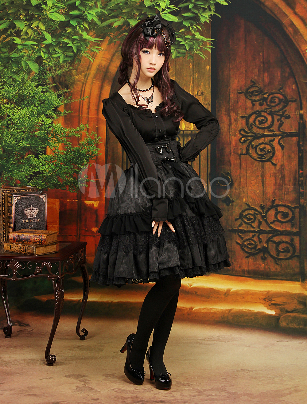 Buy Gothic Black Layered Long Sleeves Elastic Silk Like Satin Jacquard Sweet Lolita Outfits for $113.99 in Milanoo store