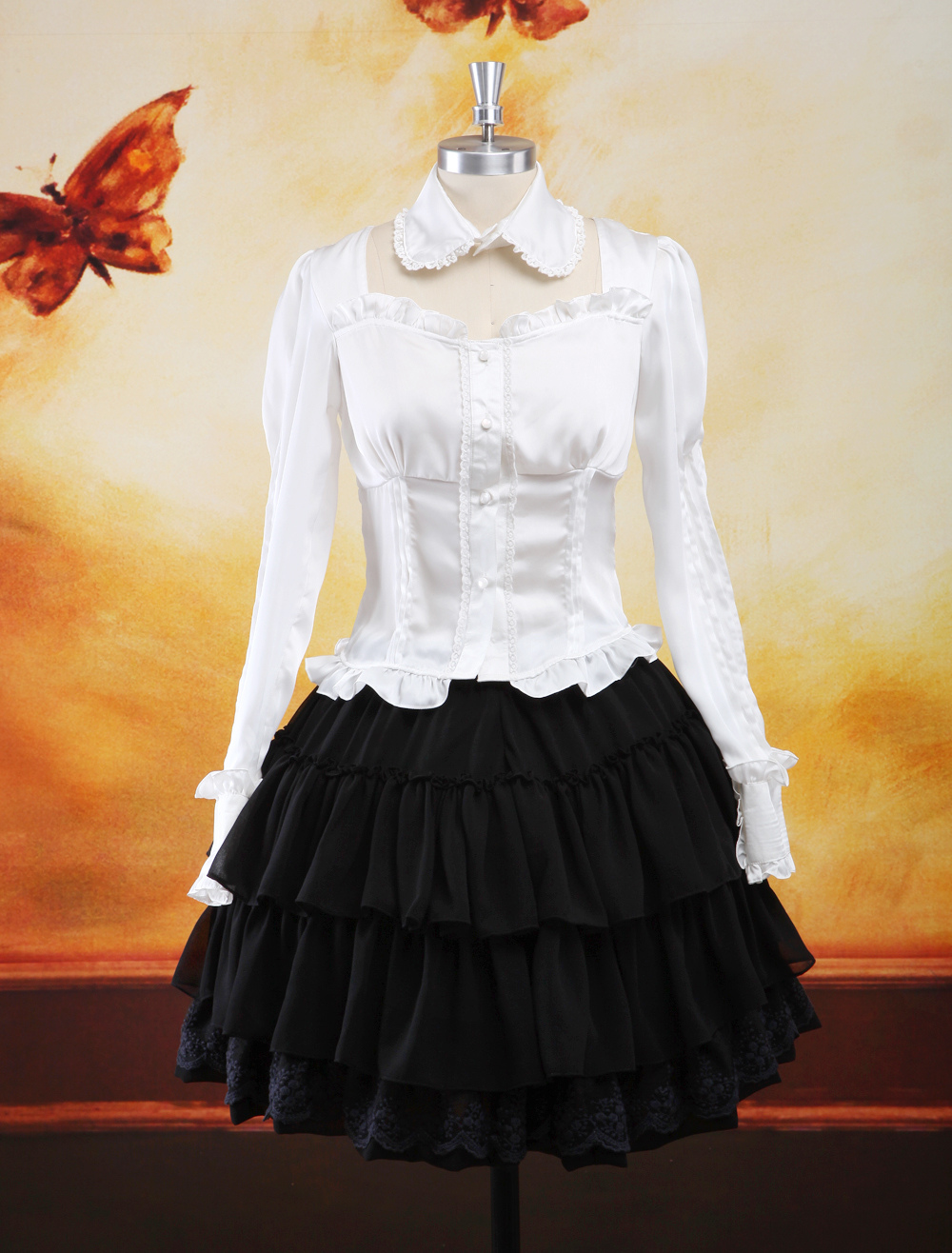 Buy Trad Multi Color Long Sleeves Elastic Silk Like Satin Chiffon Lolita Outfits for $95.39 in Milanoo store