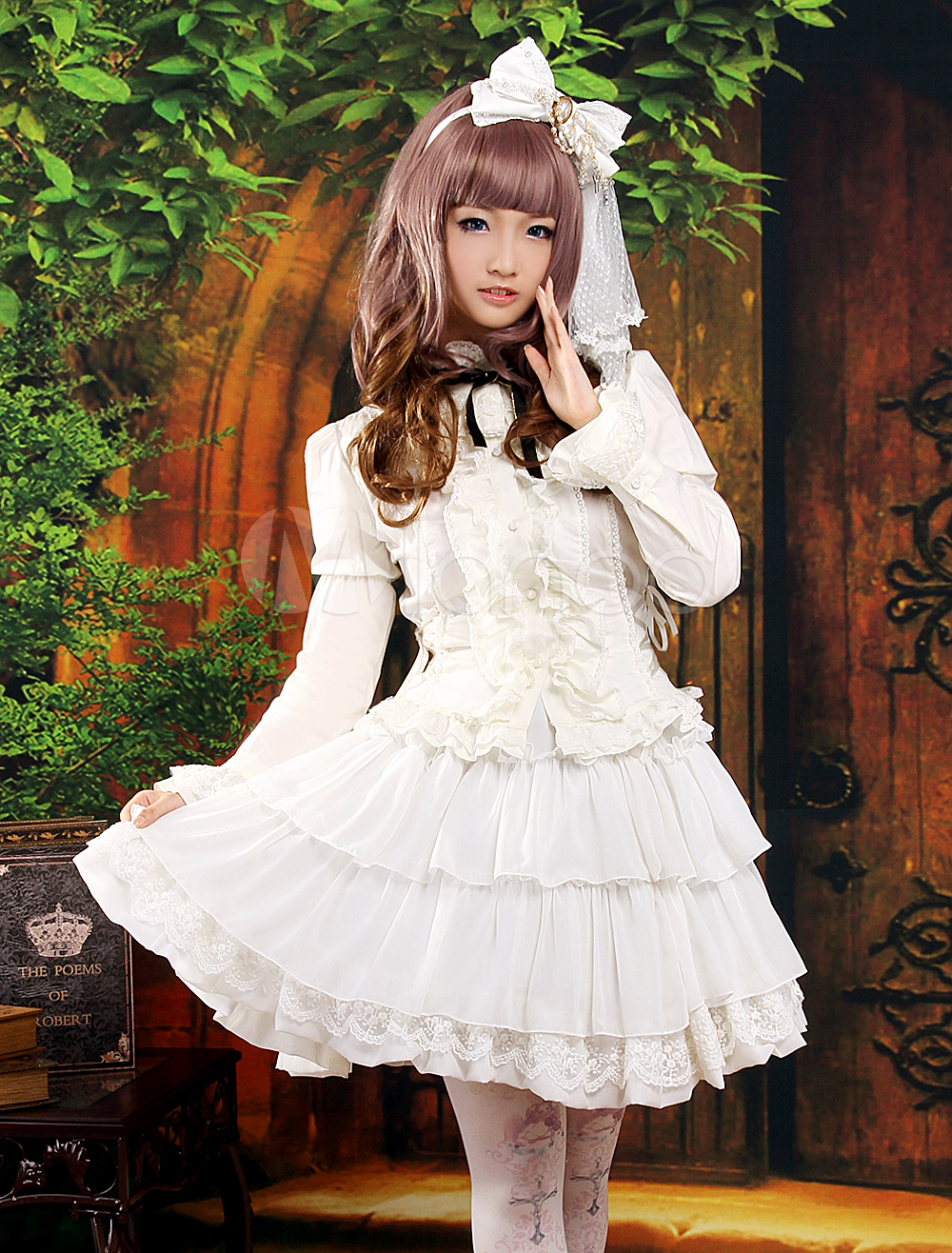 Buy Classic White Long Sleeves Layered Chiffon Lolita Outfits for $95.39 in Milanoo store