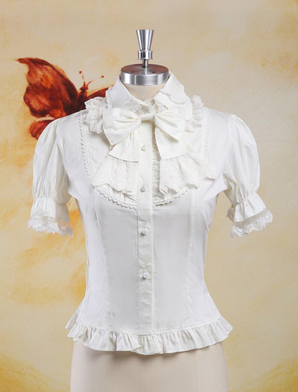 Sweet White Cotton Lolita Blouse Short Sleeves Lace Trim Bows Ruffles