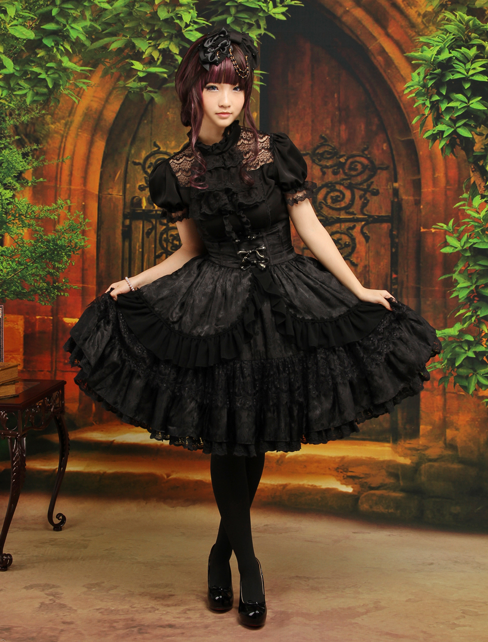Buy Gothic Lolita Outfit Black 2 Piece Set Lace Ruffle High Waist Skirt With Blouse for $100.79 in Milanoo store
