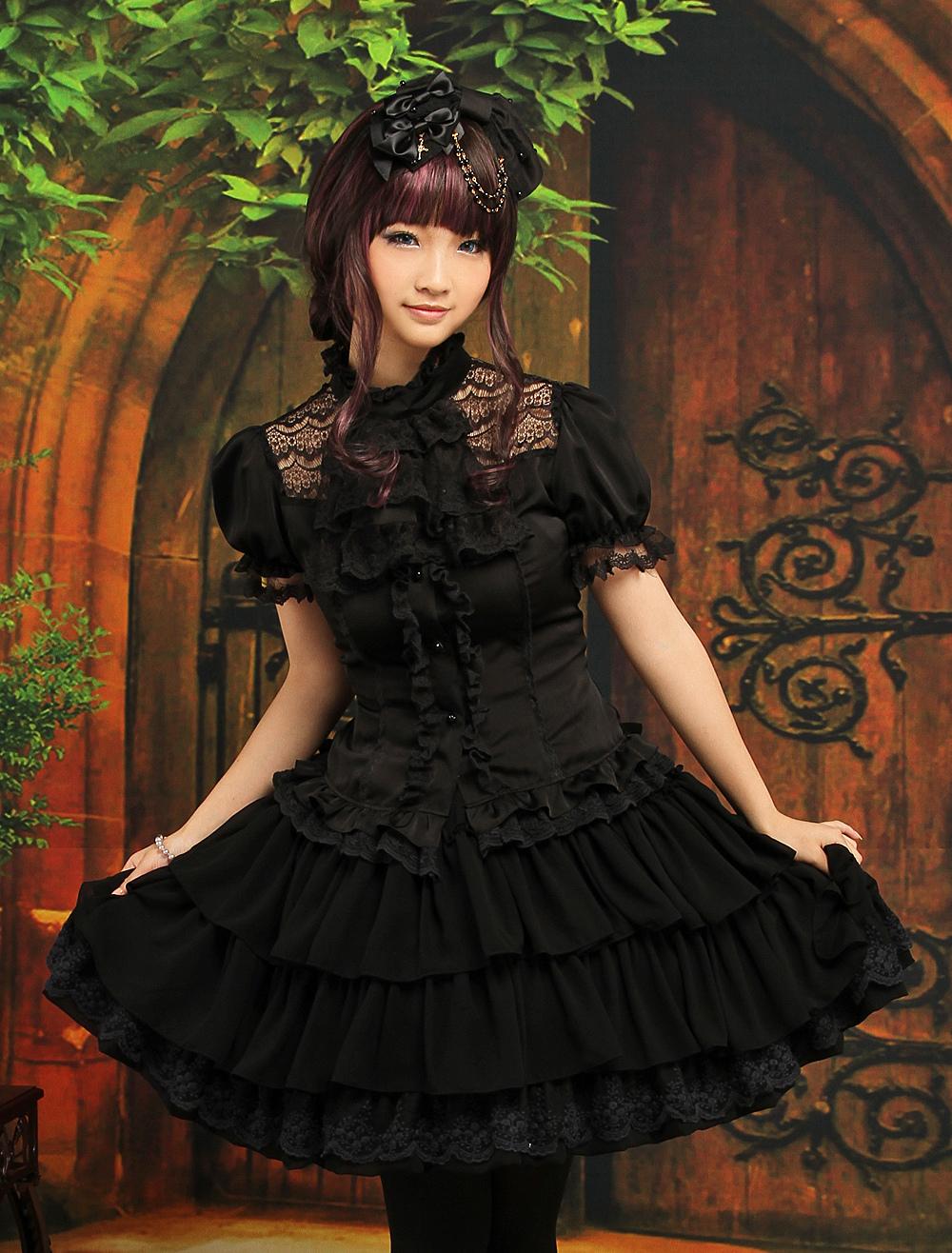Gothic Black Layered Elastic Satin Chiffon Lolita Outfits