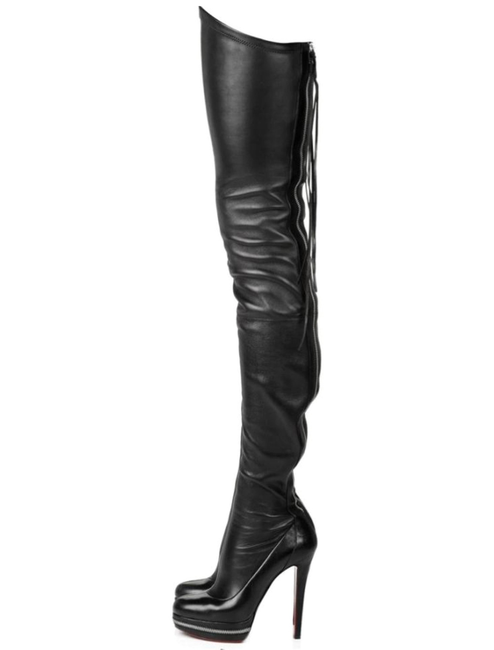 4a41d582cca Thigh High Boots High Heel Women's Black PU Leather Over Knee Boots -  Milanoo.com