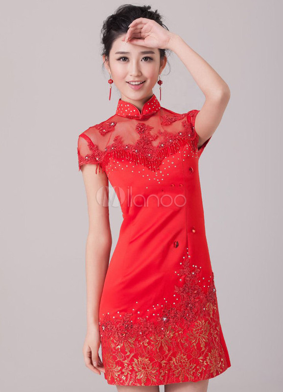 Robe chinoise rouge et or