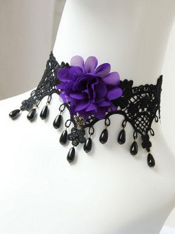 Buy Deluxe Black Cotton Lolita Necklace for $20.23 in Milanoo store