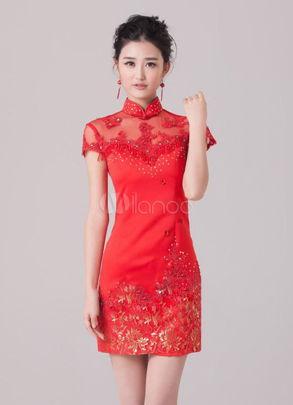 Robe chinoise manche courte