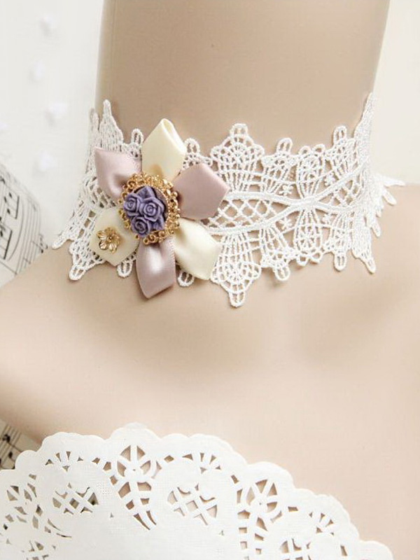 Buy Elegant White Lace Flower Cotton Lolita Necklace for $14.39 in Milanoo store