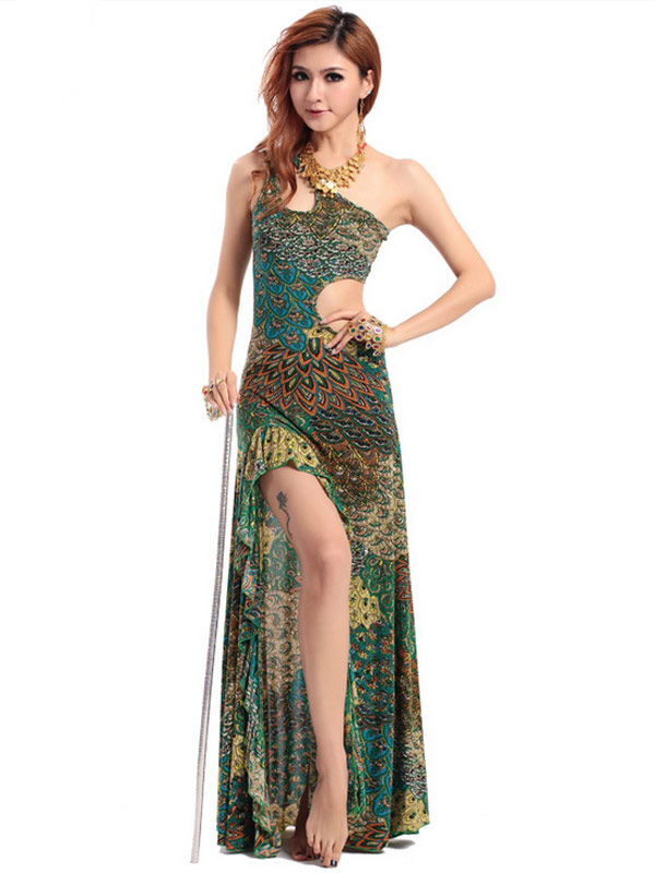 Dress Belly Dance Costume Green Cut Out Peacock Print Rayon Bollywood Dance Long Dress