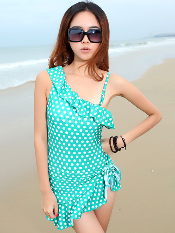 be1ebce242b19 Asymmetrical Shoulder Polka Dot Lycra Spandex Ruffles Women's One Piece  Swimsuit ...