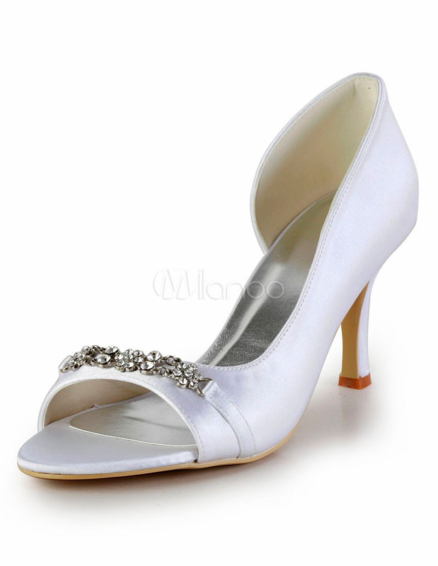 Buy Elegant Rhinestone Stiletto Heel Peep Toe Silk And Satin Fashion Woman's Wedding Shoes for $80.74 in Milanoo store