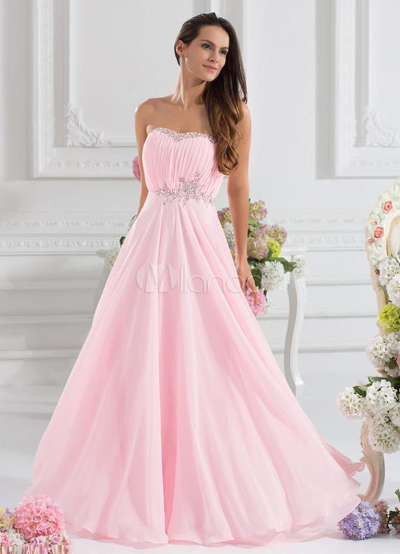 Vestido de fiesta de gasa rosada de línea A hasta el suelo - Milanoo.com
