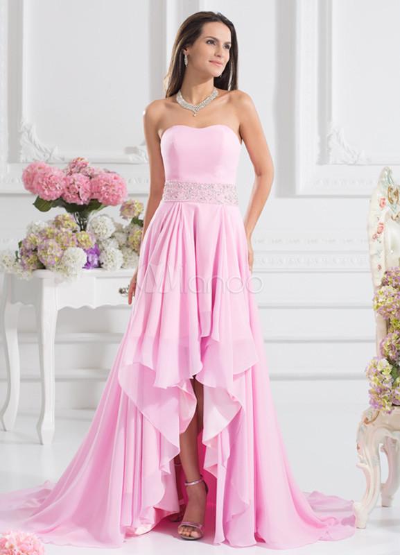 Vestido de fiesta de gasa rosada con diamantes de imitación sin ...