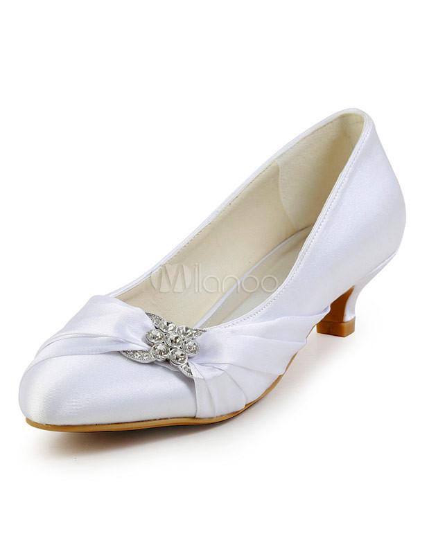 Pretty Rhinestone Stiletto Heel Round Toe Silk And Satin Lady's Wedding Shoes