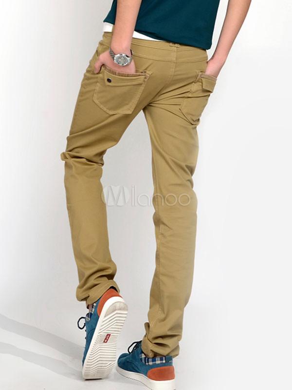 105949927a99 Pantalon homme cool coupe fine, couleur unie kaki - Milanoo.com