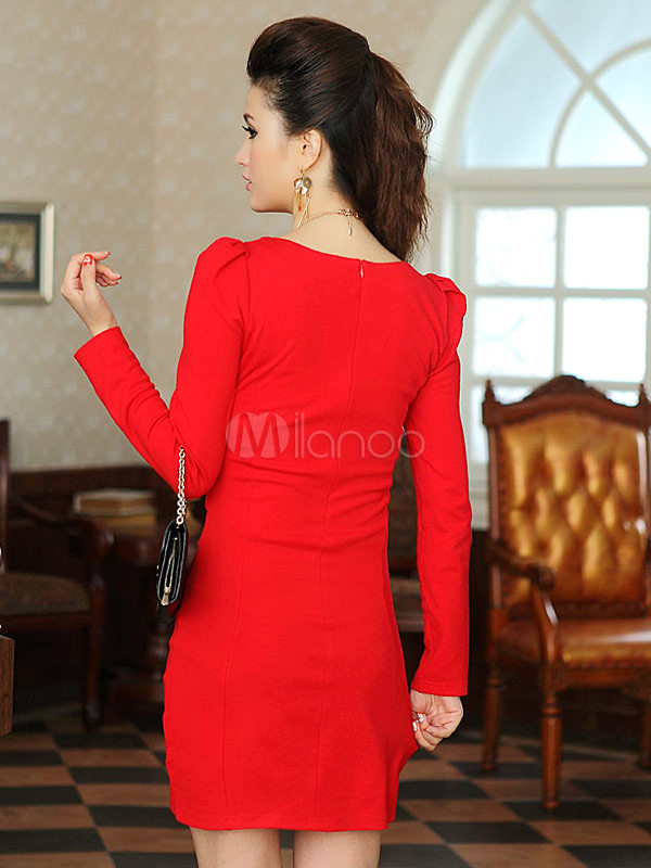 new product 630bc 95c00 Sexy mini abito rosso con scollo a V romano con maniche lunghe
