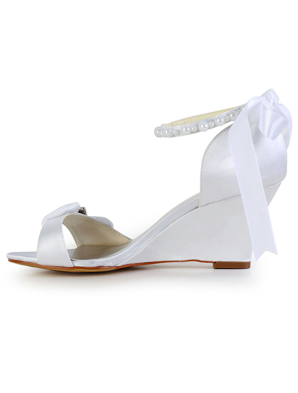 Bow Rhinestone Wedge Heel Open Toe Silk And Satin Special Occasion Shoes