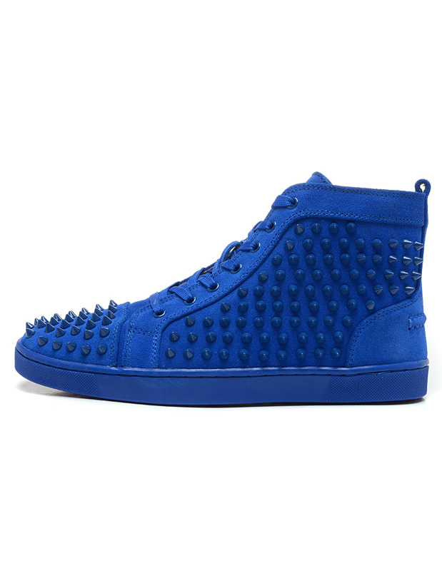 Blue Men Sneakers 2018 Suede Spike Shoes Round Toe Lace Up Rivets High Top Skate Shoes